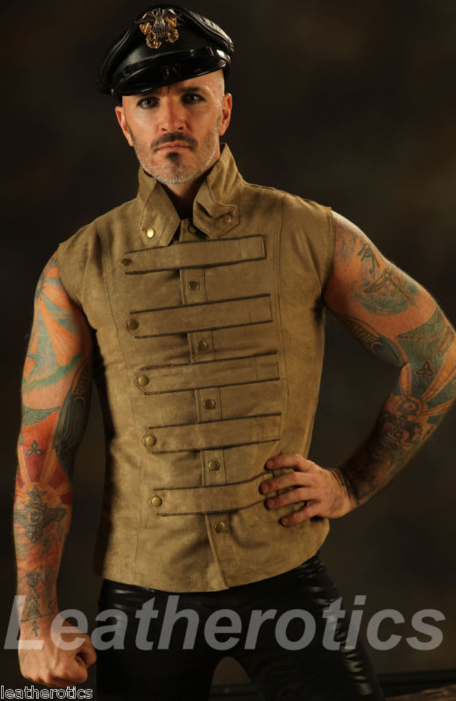 New Men's Steampunk Military Waistcoat Vest Top Mandarin Vintage Guard