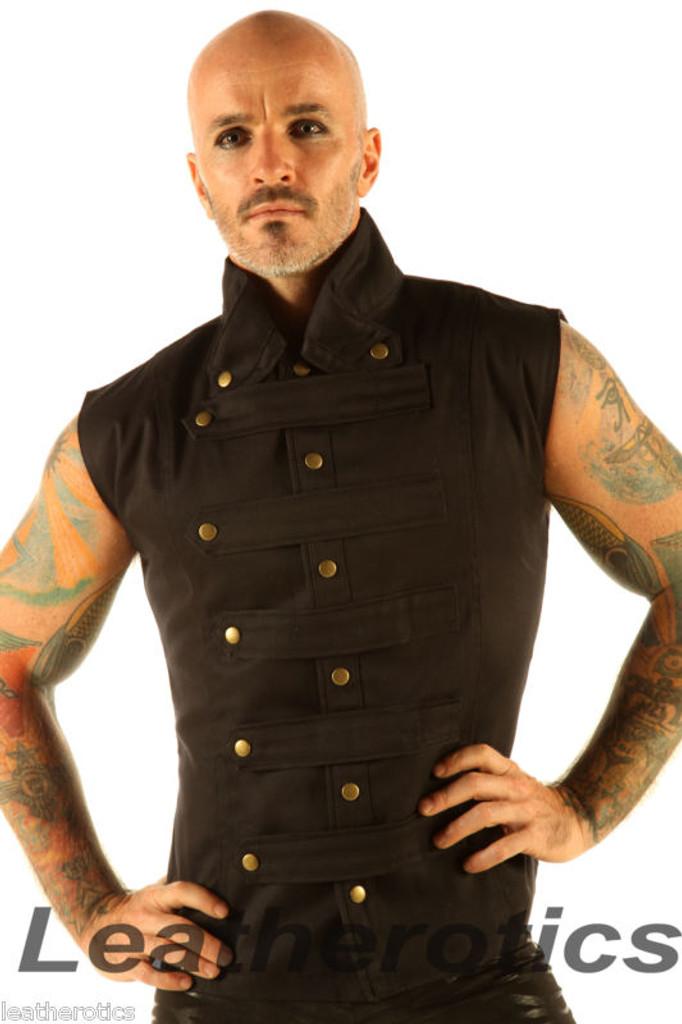 Men's Steampunk Military Waistcoat Vest Top Mandarin Collar