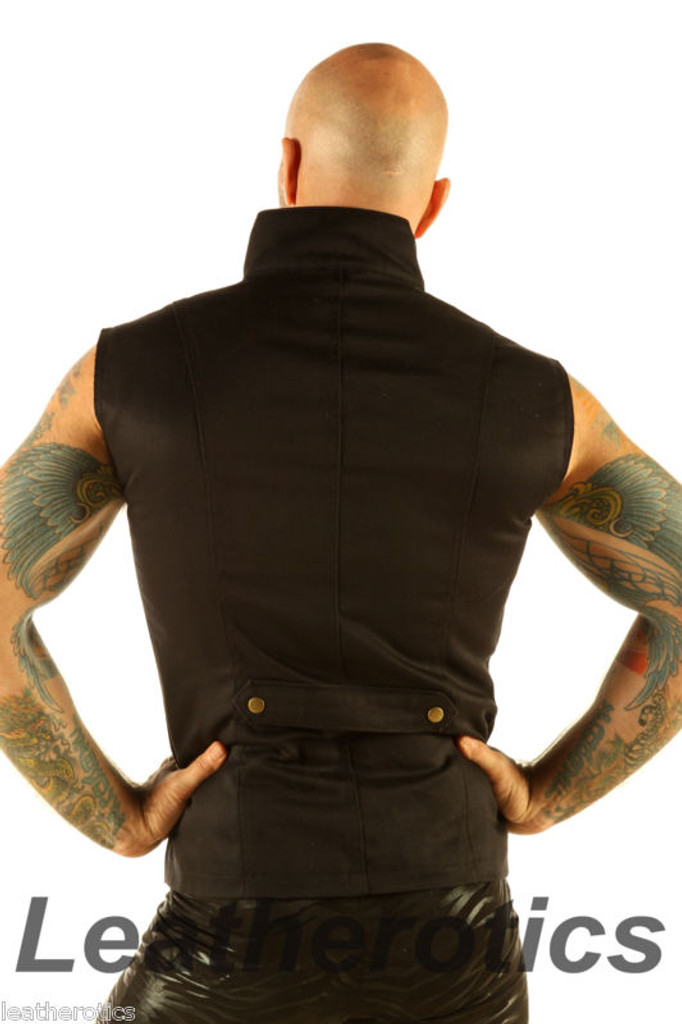Men's Steampunk Military Waistcoat Vest Top Mandarin Collar  back view