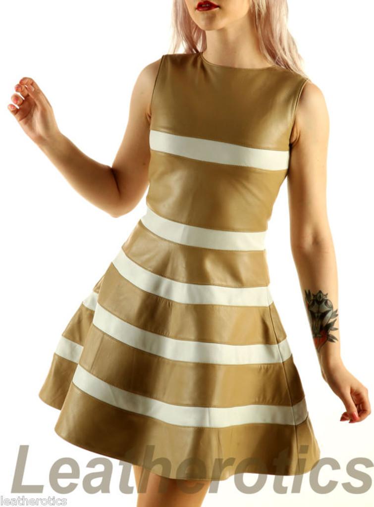 tan white leather dress