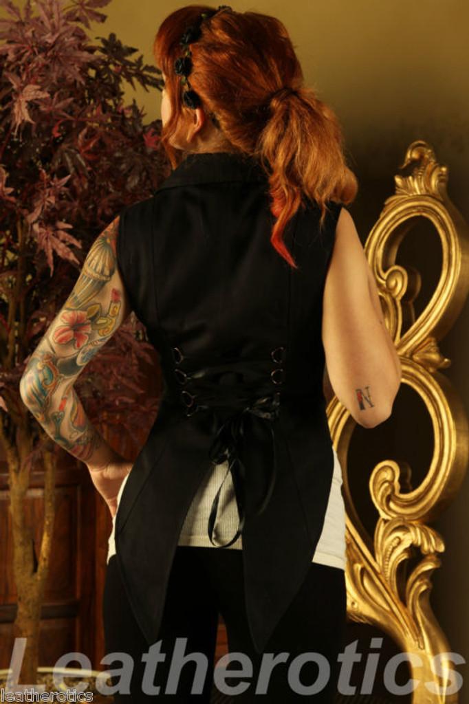 Ladies Tailcoat Gothic Vintage Costume Victorian Flock back view