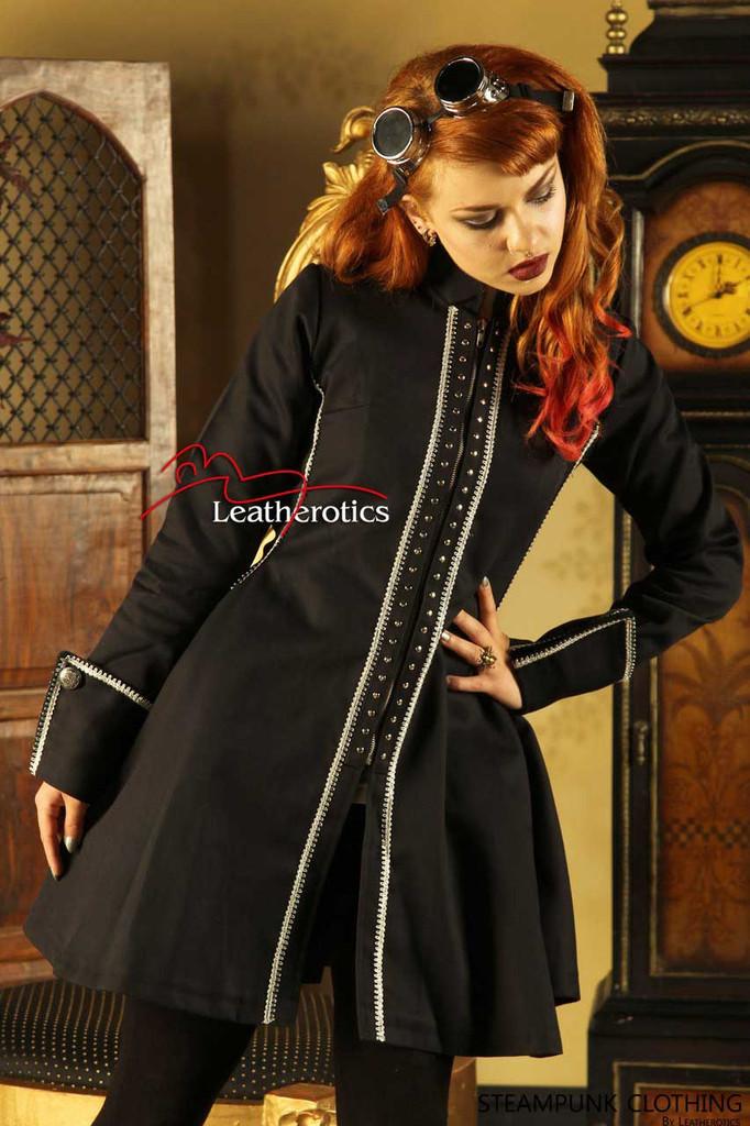 Black Gothic Vintage Costume Victorian Frock Steampunk Jacket shop STP4