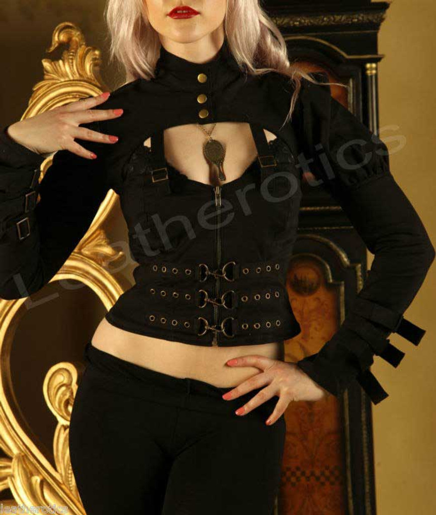 Black Cotton Steampunk Goth Victorian Top Jacket inspired dresses STP01