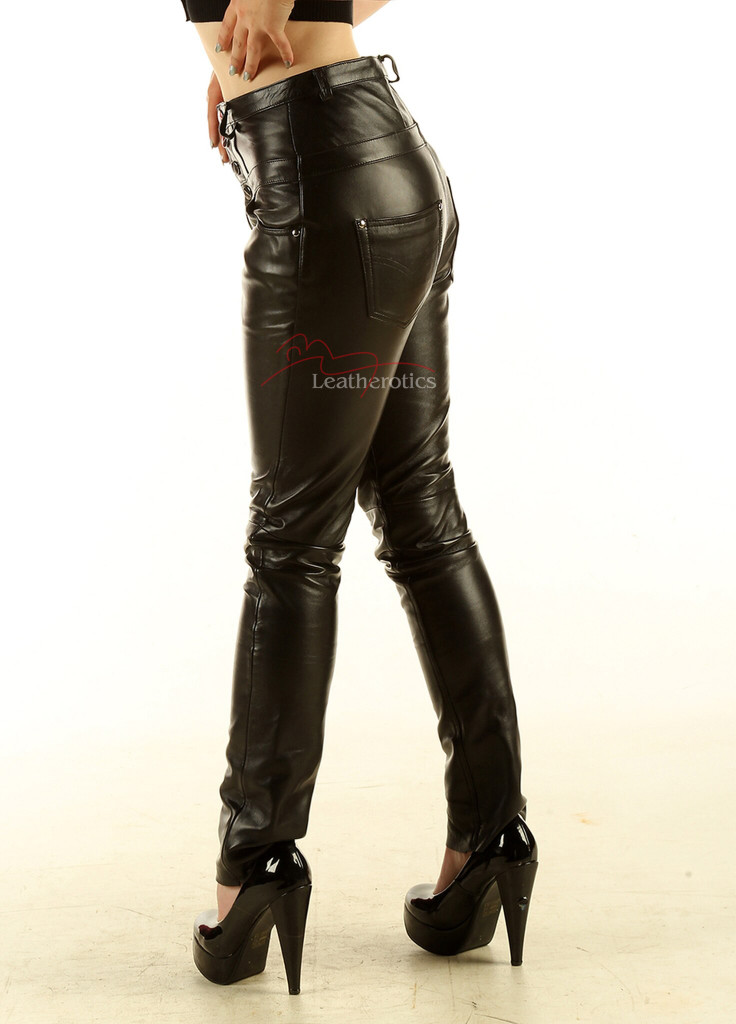 Leather High waisted skinny Jeans with protective double stitching  pic 3