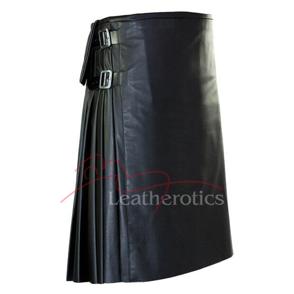 Stunning Full Grain Leather Kilt Pleated Scottish - side
