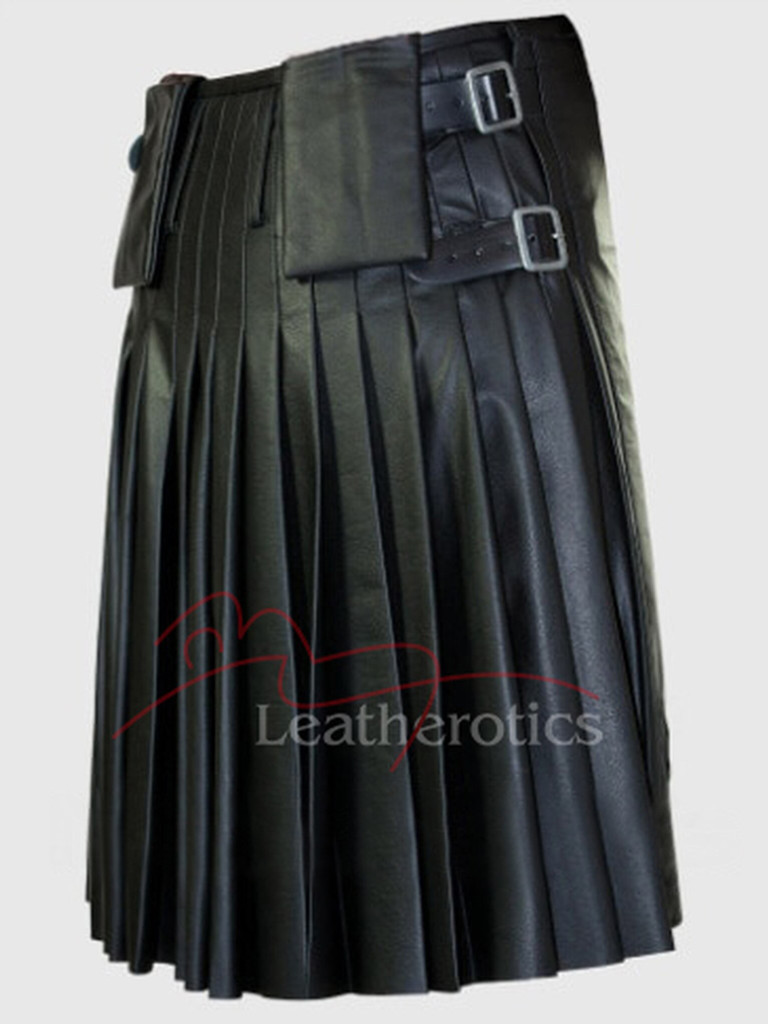 Leather Kilt Pleated Scottish - back