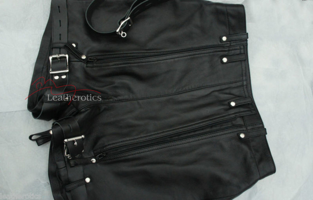 Mens Natural Leather Binder Chastity Shorts Knickers Bondage img3