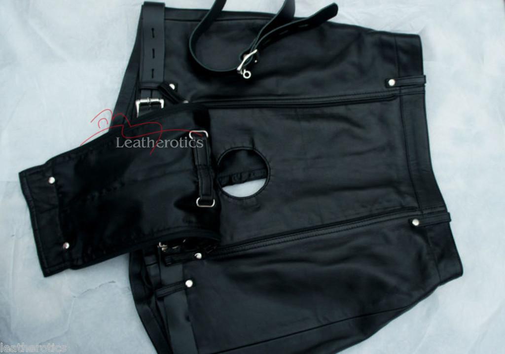 Mens Natural Leather Binder Chastity Shorts Knickers Bondage img4