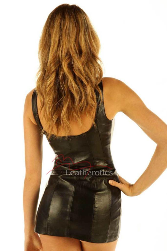 Black Leather Mini Dress Sleeveless Statement Top - back