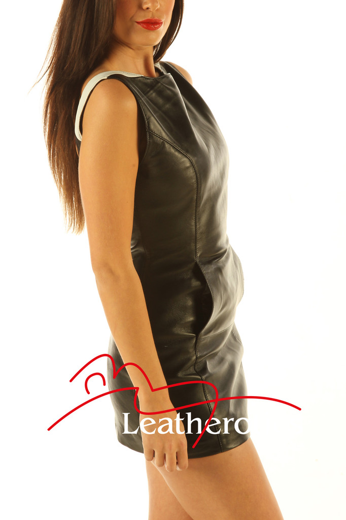 Two Tone Leather Mini Dress Sleeveless Light Top MD80 side view