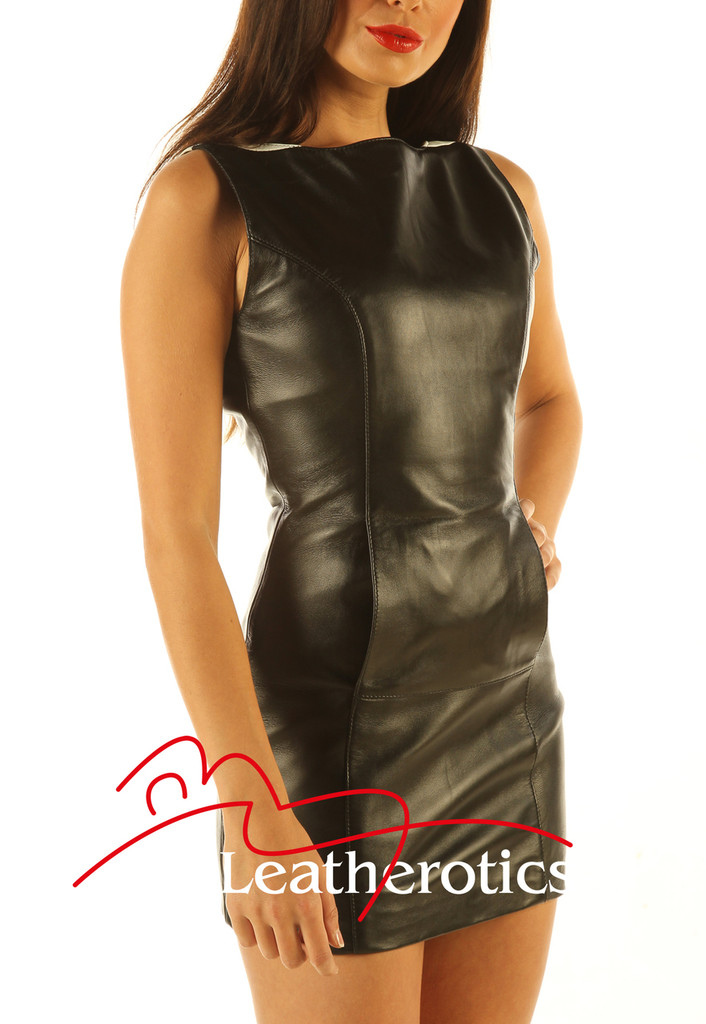 Two Tone Leather Mini Dress Sleeveless Light Top MD80 side close up