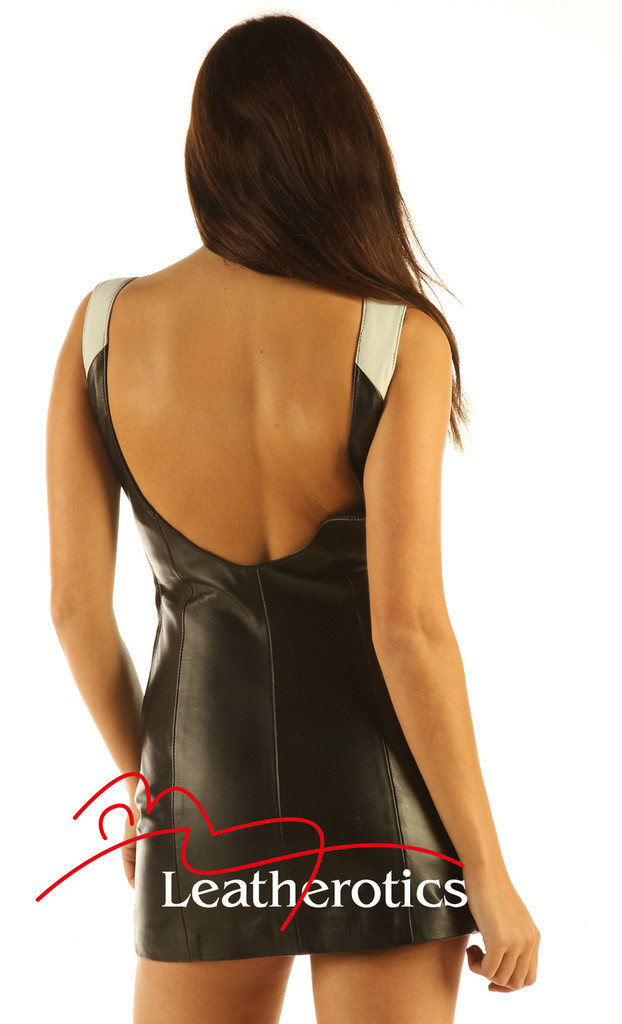 Two Tone Leather Mini Dress Sleeveless Light Top MD80 back view