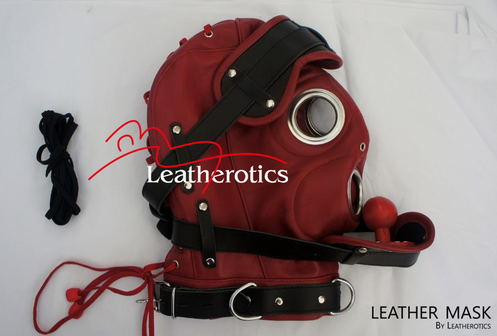 Red Full Grain Leather Mask hood soft supple M6 image 2