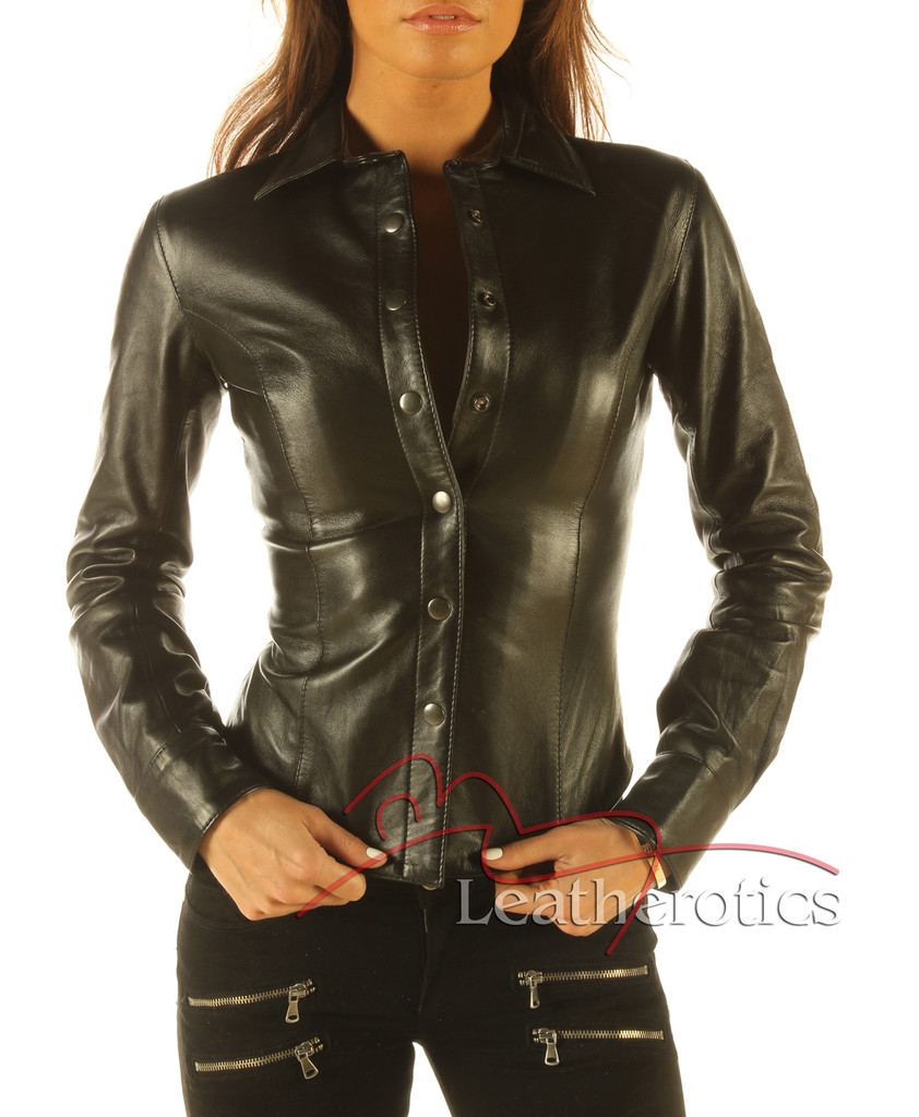 Ladies Soft Leather Shirt Top Clothing Long Full Sleeves front