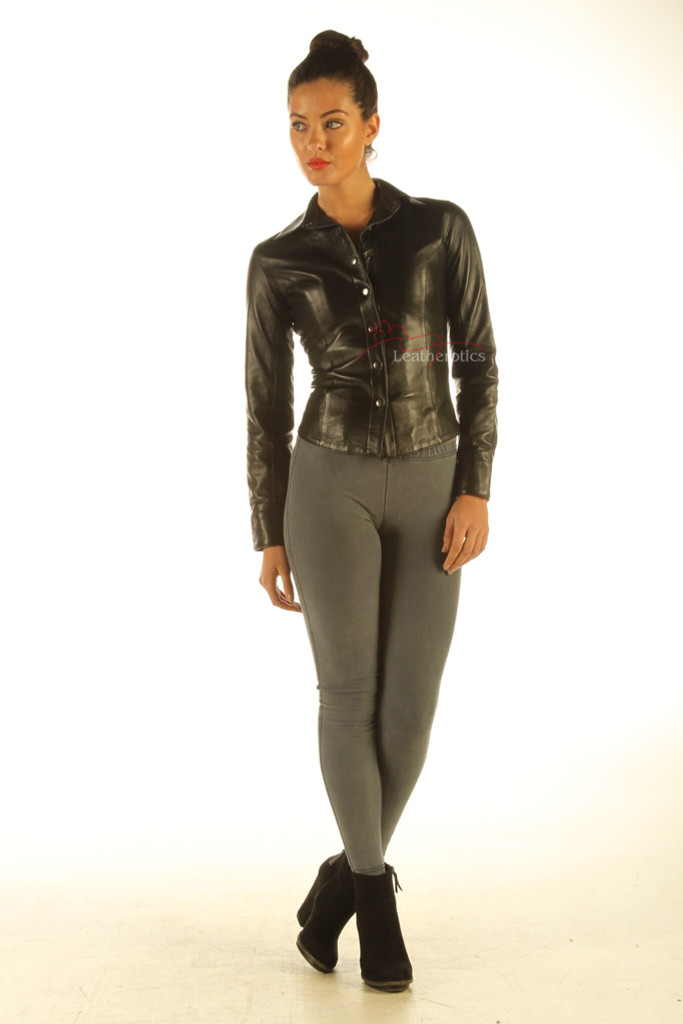 Ladies Soft Leather Shirt Top Clothing Long Full Sleeves front zoom out