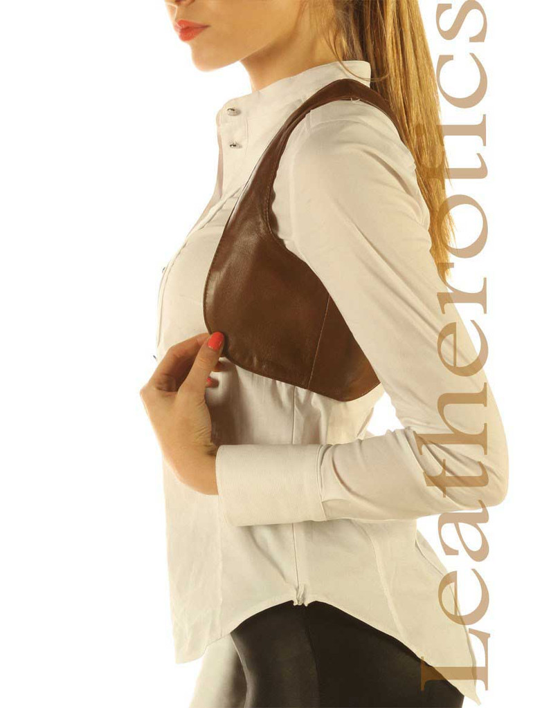Antique Brown Real Leather Waistcoat Vest Sleeveless Steampunk Bolero