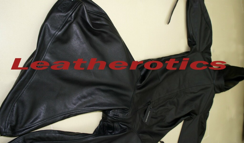 Leather Bodybag Bondage B-Suit with Mask Restraint Gimp suit pic 8