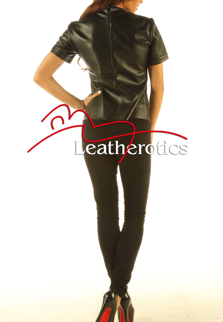 Full Grain Leather T-Shirt Light Top Celebrity T-shirt Vest With Zip Back  back view