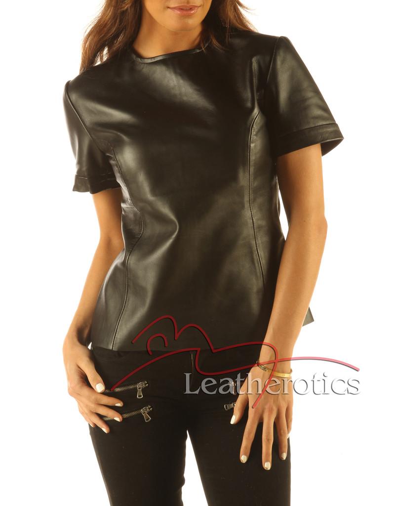 Full Grain Leather T-Shirt Light Top Celebrity T-shirt Vest With Zip Back front