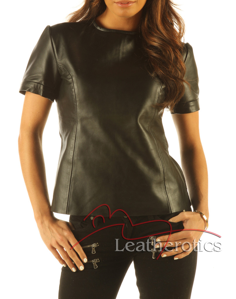 Full Grain Leather T-Shirt Light Top Celebrity T-shirt Vest With Zip Back front zoom view