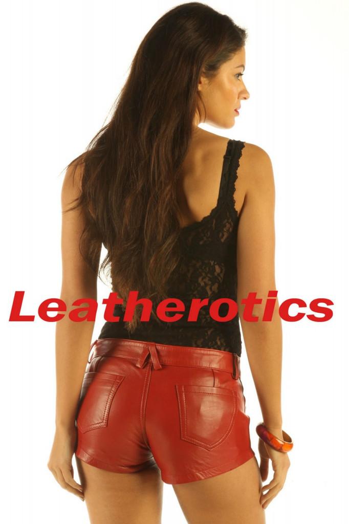 full grain leather dark red shorts