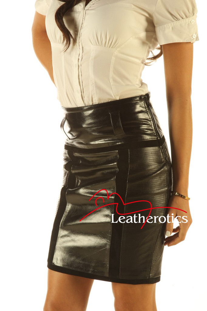 Knee Length Leather Skirt Pencil Style Tight Fit Sexy Black Unique Suede side view