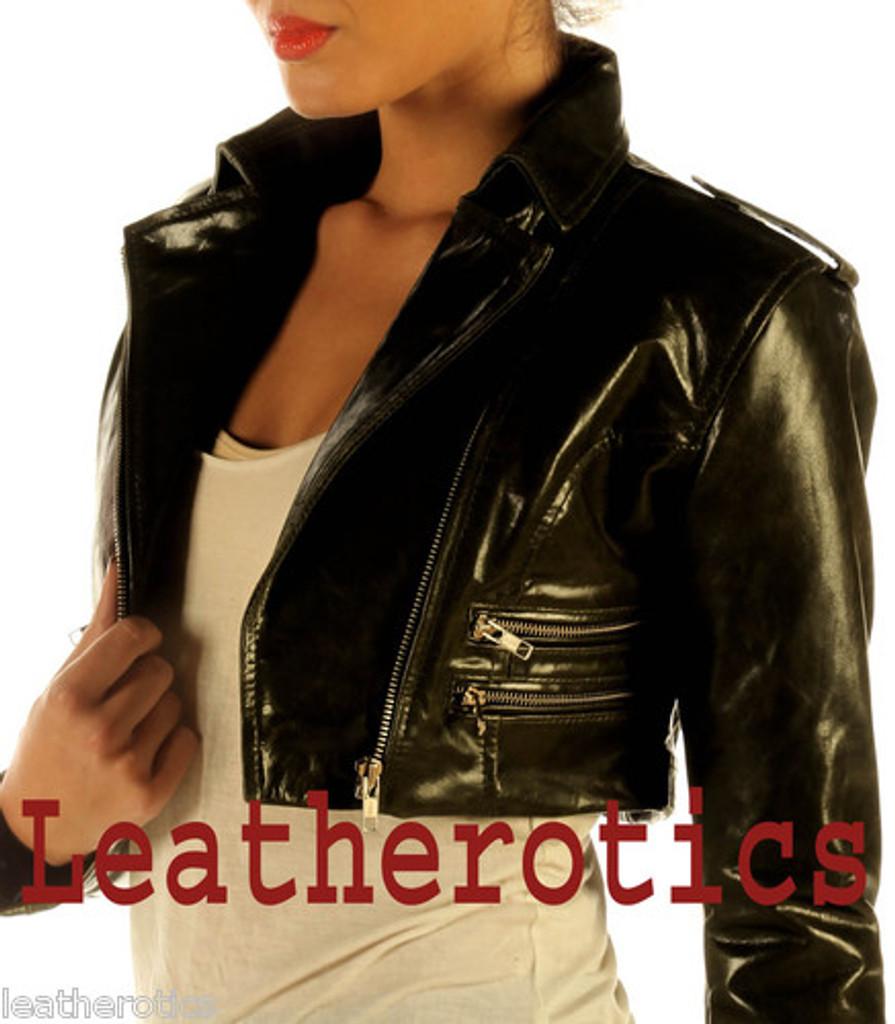 Ladies Leather High Waisted Short Jacket M85