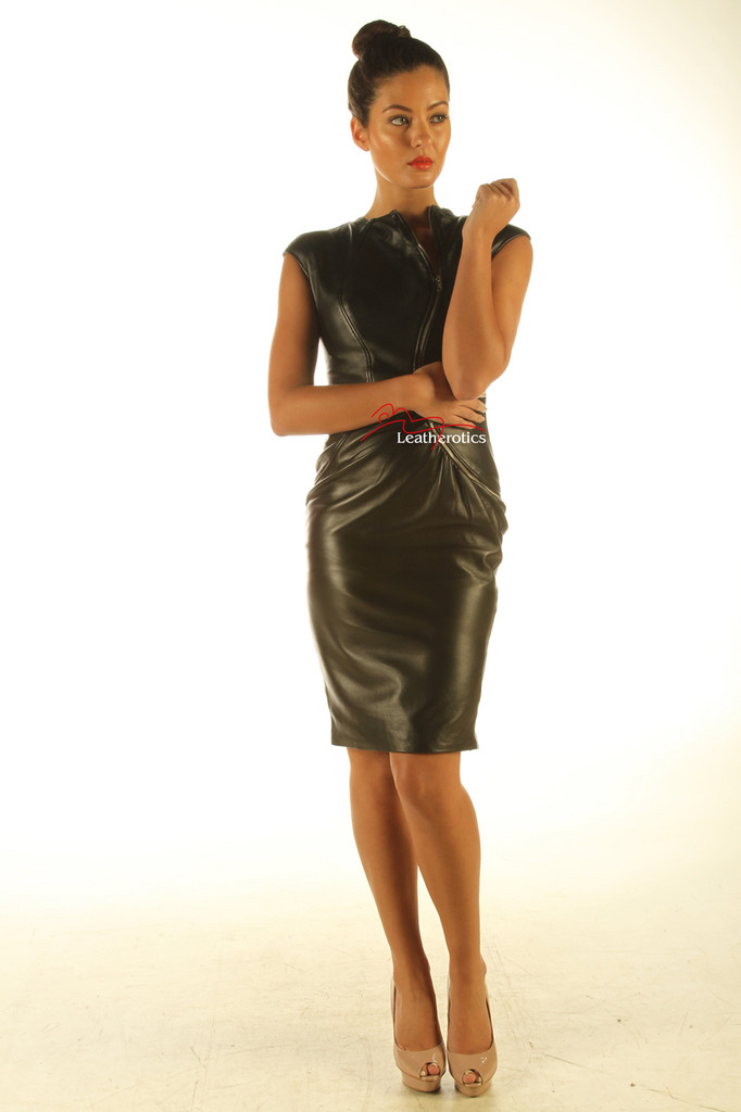 Lavish Soft Black Leather midi Dress Zip Front Top Calf Length front