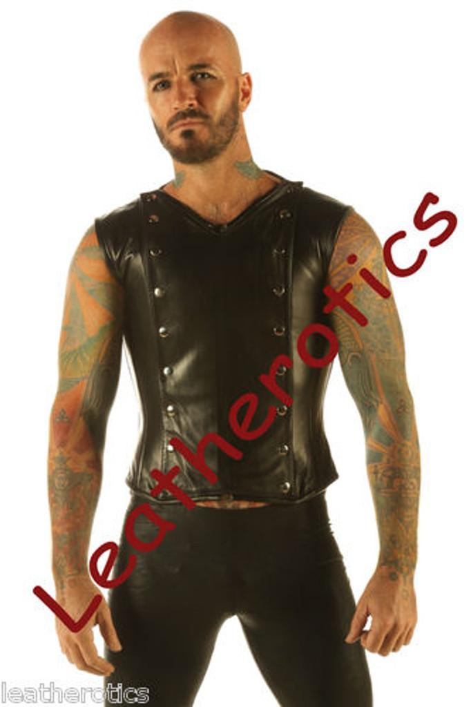5074f952a6 Full Grain Leather Mens Vest Waistcoat Victorian Steel Boned Shirt VC9 Mens  leather corseted Waistcoat ...