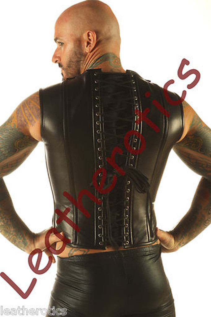 Full Grain Leather Mens Vest Waistcoat Victorian Steel Boned Shirt VC9 - back