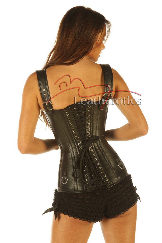 Full Grain Leather Double Boned Corset Fetish Dominant Gothic  back view