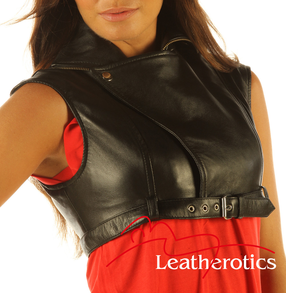 Full Grain Leather High Waisted Short Top Waist Coat Top Trendy front view