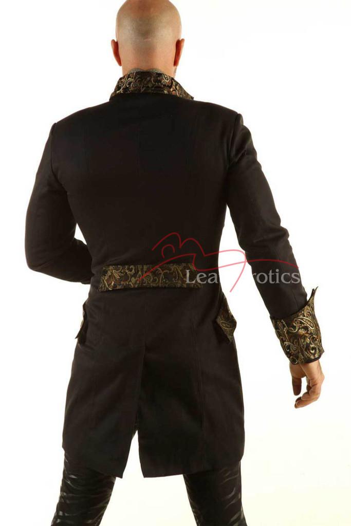 Black Cotton Gothic Steampunk Vintage Dress Coat Pirate Miltary Top SPSL