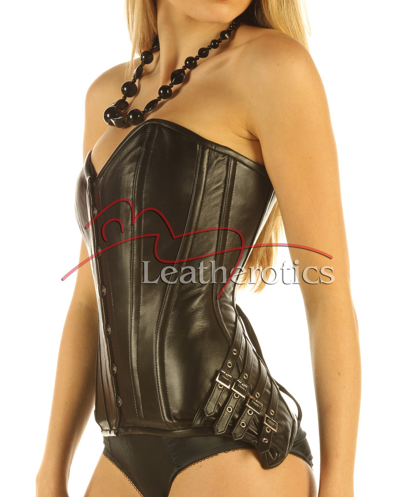Full Grain Real Leather Corset Black Steel Boned Lacing Lined top 1841 side