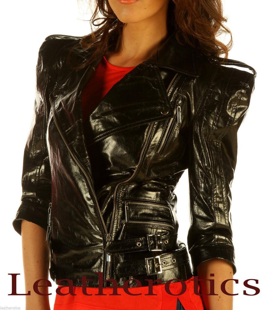 Ladies Leather Jacket Waist Length Top  Detailed Zipper JC57 image 2