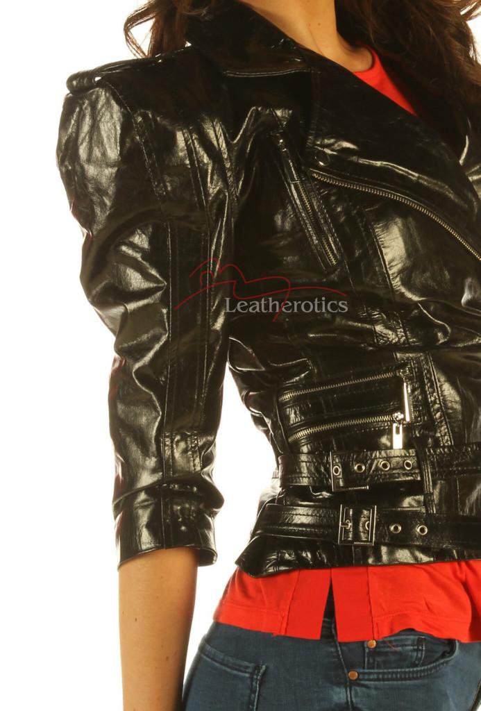 Ladies Leather Jacket Waist Length Top  Detailed Zipper JC57 image 3