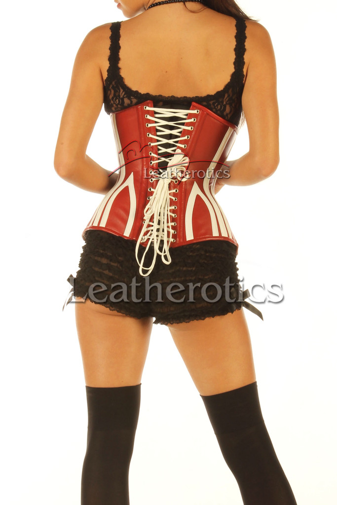 Leather Corset 1836 Red White - back