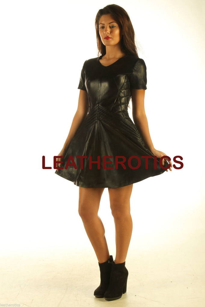 Lavish Black Leather Dress  MD 83 front