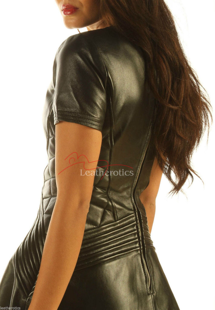 Lavish Black Leather Dress  MD 83 back zoom