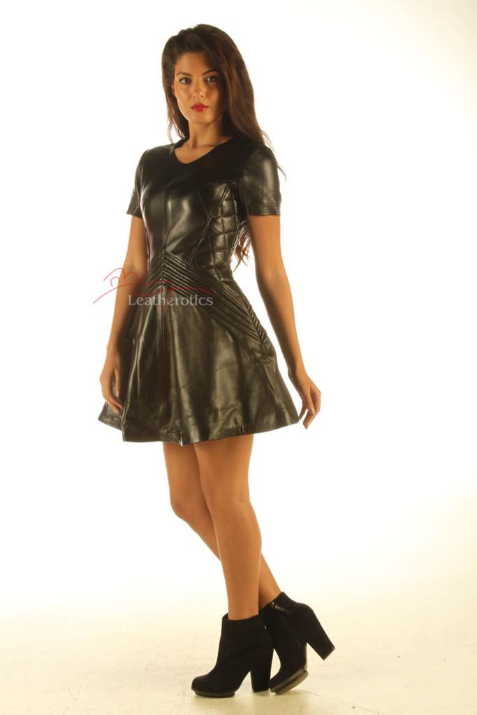Lavish Black Leather Dress  MD 83