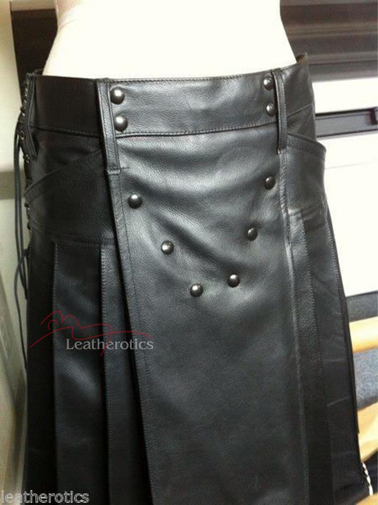 Men's Full Grain Leather Kilt Wrap Around Sheep Or Cowhide K9