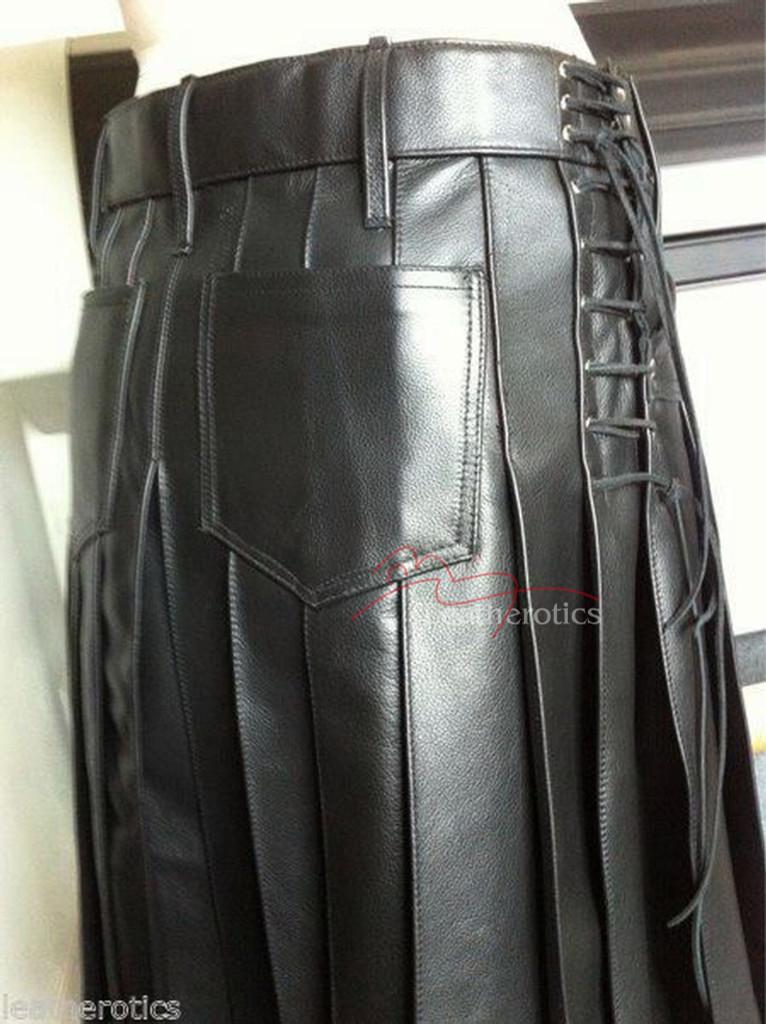 Men's Full Grain Leather Kilt Wrap Around Sheep K9