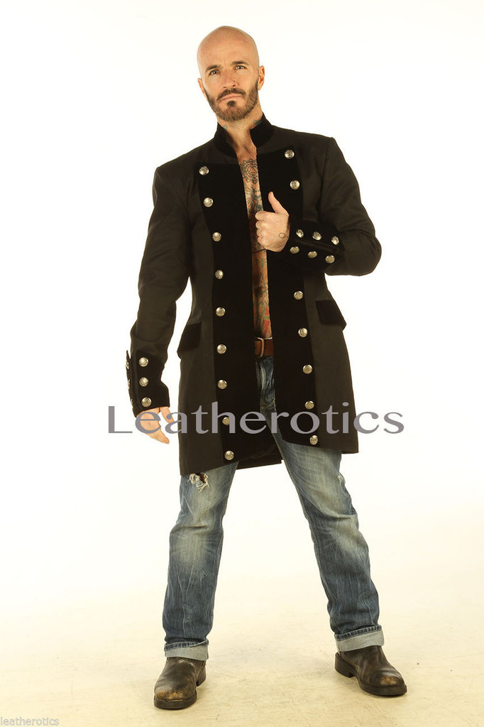 Gothic Steampunk Vintage Dress Coat Pirate Military Top SPVL