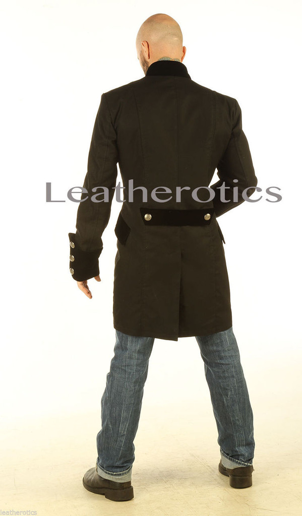 Gothic Steampunk Vintage Dress Coat Pirate Military Top SPVL back