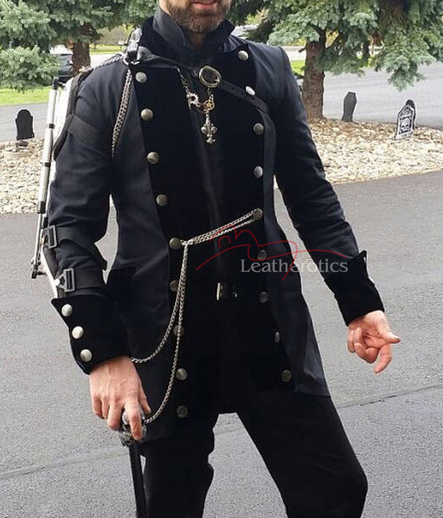 Gothic Steampunk Vintage Dress Coat Pirate Military Top SPVL outside fashion look