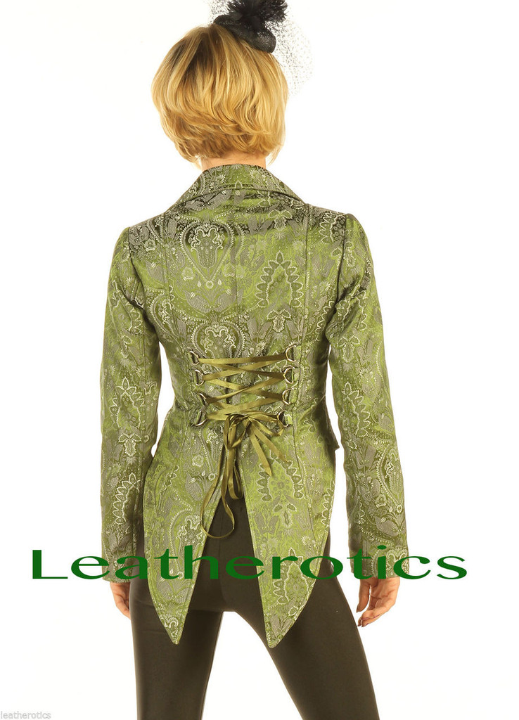 Ladies Tail Coat Victorian Flock Steampunk Jacket Green STP2  back