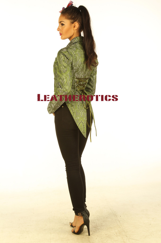 Ladies Tail Coat Victorian Flock Steampunk Jacket Green STP2  side