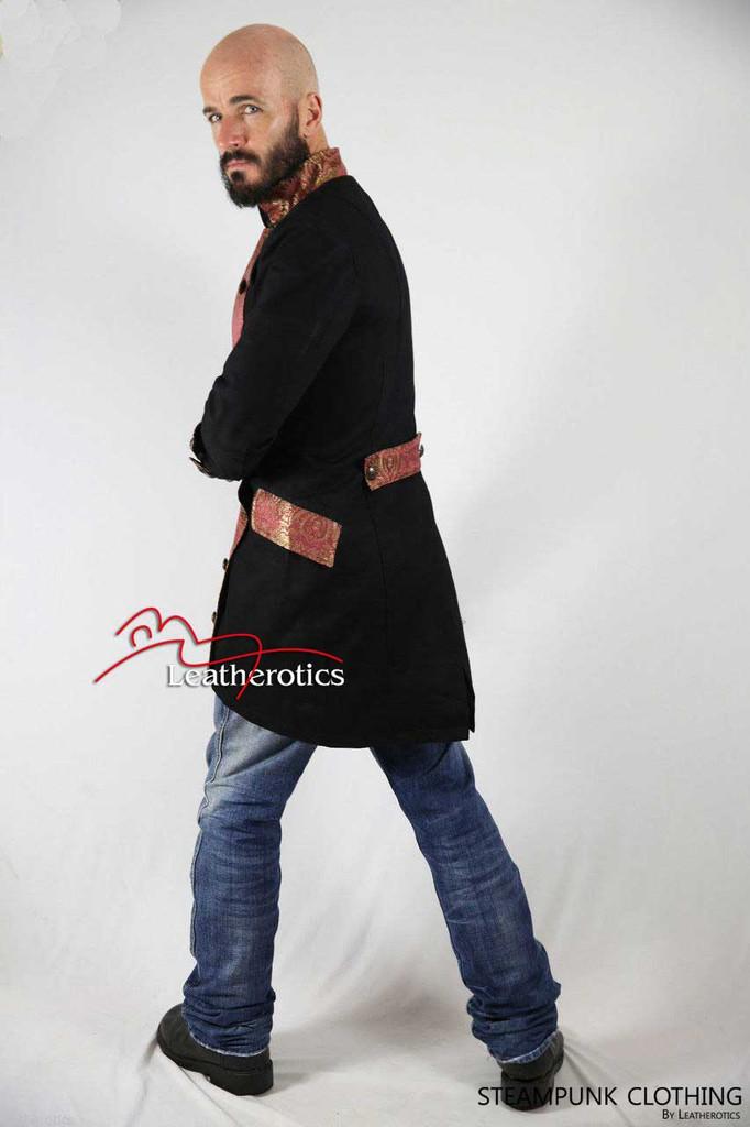 Black Cotton Gothic Steampunk Vintage Dress Coat Military SPML pic4