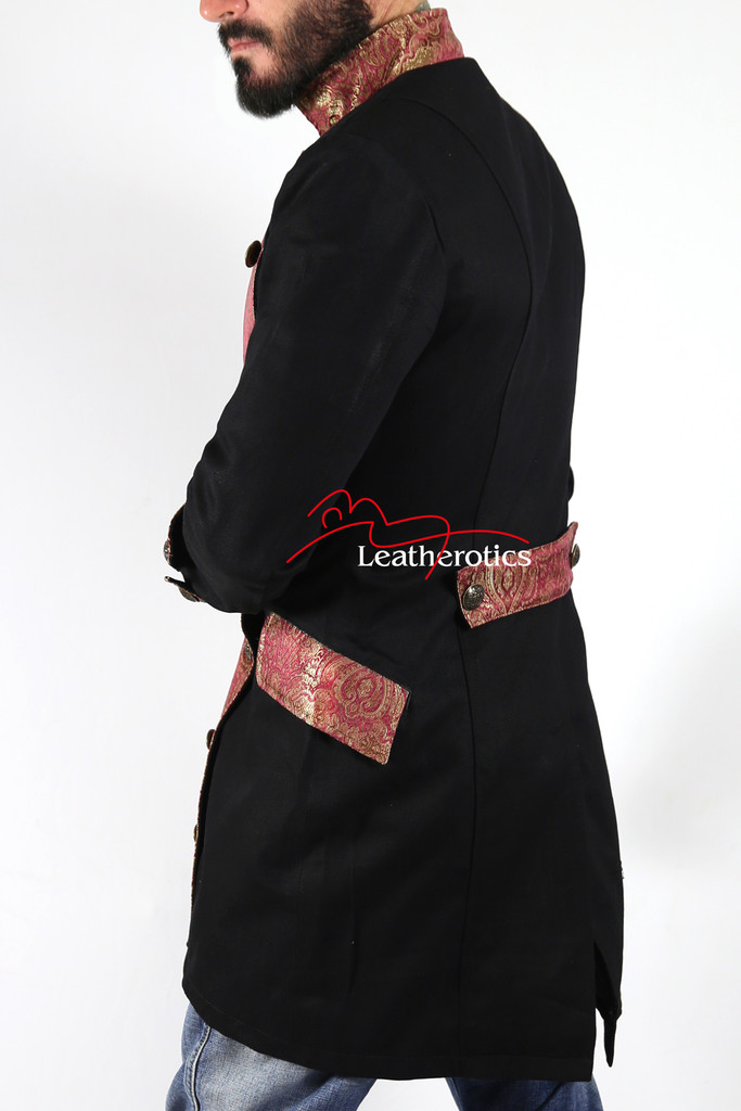 Black Cotton Gothic Steampunk Vintage Dress Coat Military SPML pic2