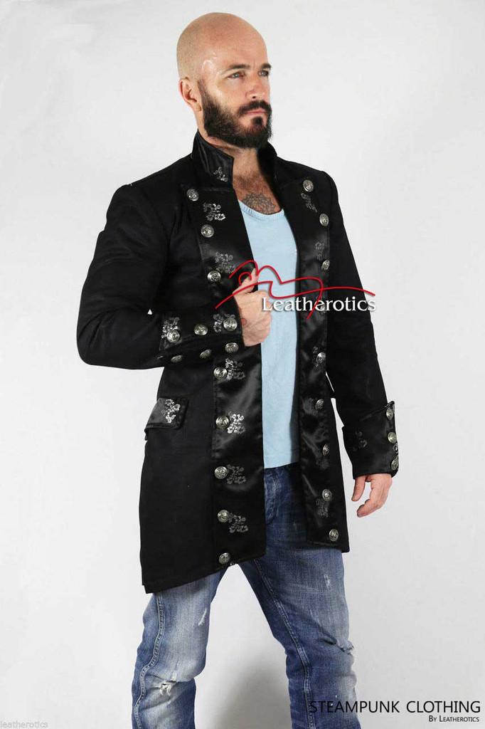 Black Cotton Men's Gothic Steampunk Outfit Vintage Dress Coat Pirate Top SPFL